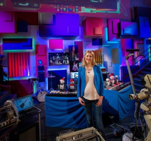 Danielle George and the robotic orchestra. (Credit: Paul Wilkinson Photography)
